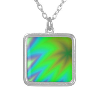Abstract Green Grass Silver Plated Necklace