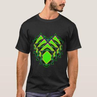 Abstract green heart t shirt