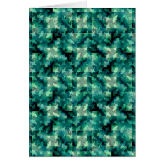 Abstract Green Layers Pattern Greeting Card
