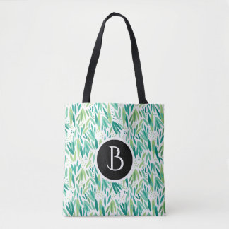 Abstract Green Leafs Botanical Pattern Tote Bag