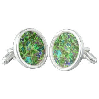 Abstract Green Leaves Pattern Cufflinks