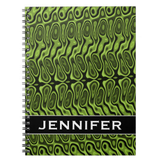 Abstract Green Liquid-Like Splotch Pattern + Name Notebook