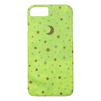 Abstract green paper with gold stars, moon iPhone 7 case