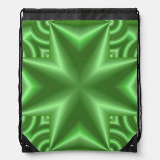 Abstract green pattern drawstring bag