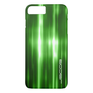 abstract green shiny pattern personalized by name iPhone 7 plus case