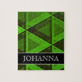 Abstract Green Triangles Pattern + Custom Name Jigsaw Puzzle