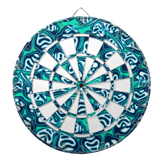 Abstract green tropical floral dartboard