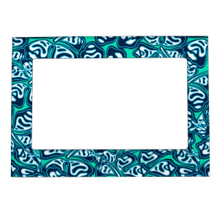 Abstract green tropical floral magnetic frame