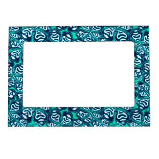 Abstract green tropical floral magnetic picture frame