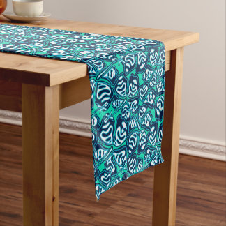 Abstract green tropical floral short table runner
