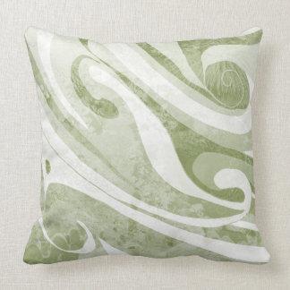 Abstract Green Waves Design Cushion