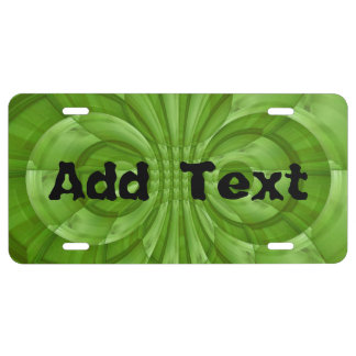 Abstract green Wood Pattern License Plate