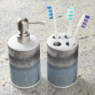 Abstract Grey & Blue Painting Bathroom Set
