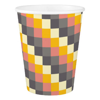 Abstract Grid Color Pattern Paper Cup