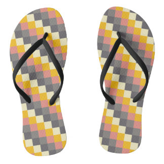 Abstract Grid Color Pattern Thongs