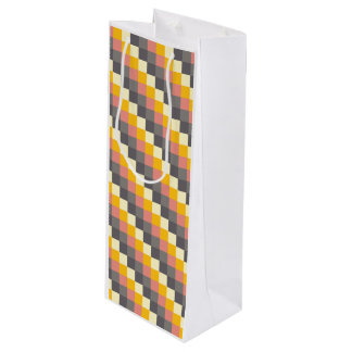 Abstract Grid Color Pattern Wine Gift Bag