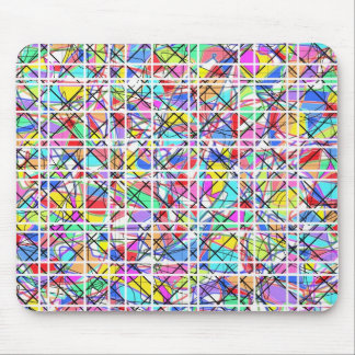 Abstract grid of colors mouse pad