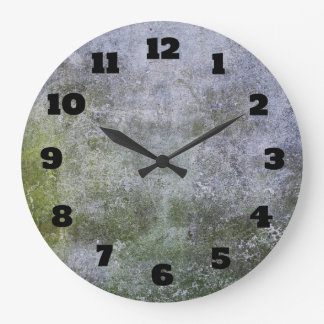 Abstract Grunge Moss Covered Stone Wall Texture Large Clock
