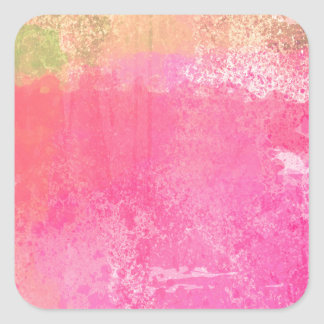 Abstract Grunge Watercolor Pink Square Sticker