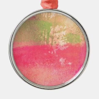Abstract Grunge Watercolor Print Metal Ornament