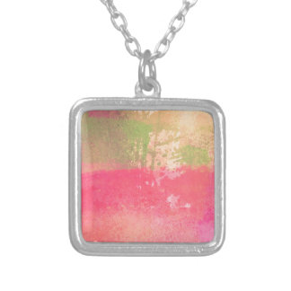 Abstract Grunge Watercolor Print Silver Plated Necklace