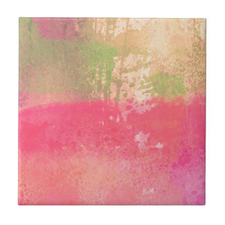 Abstract Grunge Watercolor Print Small Square Tile