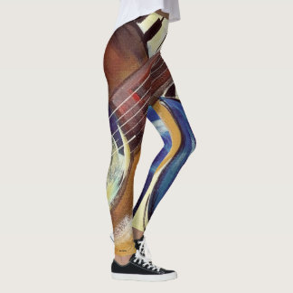 Abstract guitar and piano leggings