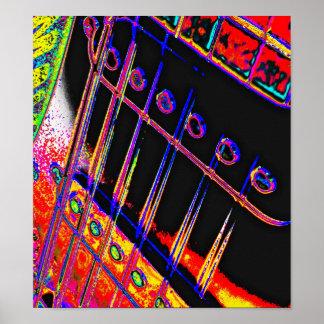 Abstract Guitar Modern Pop Art Poster Rock N Roll