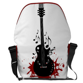 Abstract guitar music background courier bag
