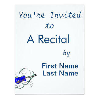 abstract guitar notes music blue.png 4.25x5.5 paper invitation card