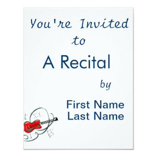 abstract guitar notes music red.png 4.25x5.5 paper invitation card