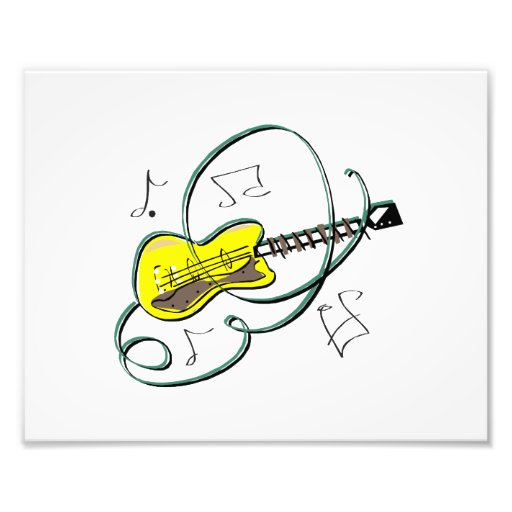abstract guitar notes music yellow.png photo print