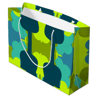 Abstract guitars in green large gift bag