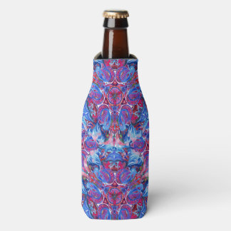 Abstract hand drawing boho pattern with birds bottle cooler