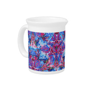 Abstract hand drawing boho pattern with birds drink pitcher