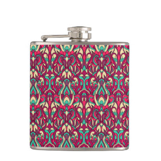 Abstract hand drawn colorful pattern. hip flask