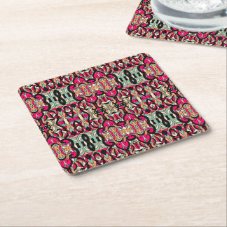 Abstract hand drawn colorful pattern. square paper coaster