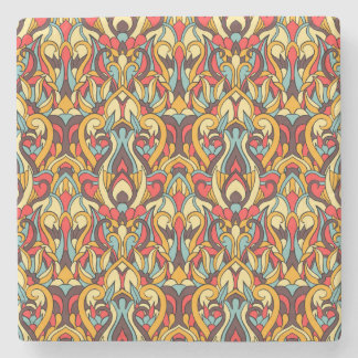 Abstract hand drawn colorful pattern. stone coaster
