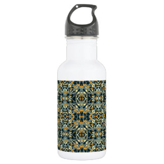 Abstract hand drawn pattern. Black and gold color. 532 Ml Water Bottle