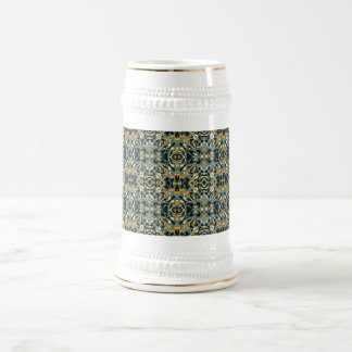 Abstract hand drawn pattern. Black and gold color. Beer Stein