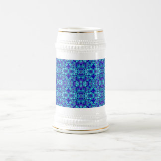 Abstract hand-drawn pattern. Blue cyan color. Beer Stein