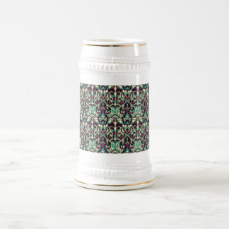 Abstract hand drawn pattern. Green colors. Beer Stein
