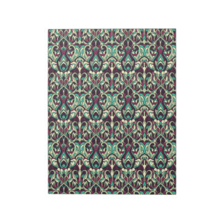 Abstract hand drawn pattern. Green colors. Notepad
