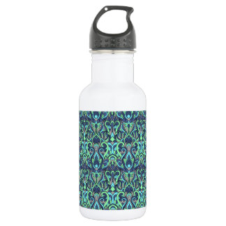 Abstract hand drawn pattern. Green cyan colors. 532 Ml Water Bottle