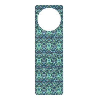 Abstract hand drawn pattern. Green cyan colors. Door Hanger