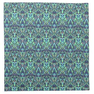 Abstract hand drawn pattern. Green cyan colors. Napkin