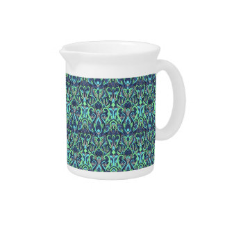 Abstract hand drawn pattern. Green cyan colors. Pitcher