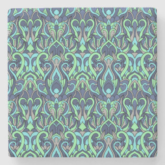 Abstract hand drawn pattern. Green cyan colors. Stone Coaster