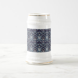 Abstract hand drawn pattern. Navy color. Beer Stein
