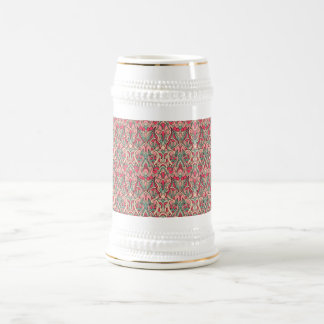 Abstract hand drawn pattern. Pink color Beer Stein